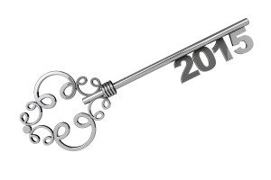 Vintage Key With 2015 Year Sign